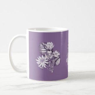 ラベンダーのモノクロ花 コーヒーマグカップ