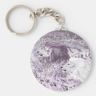ラベンダーのライオンKeychain キーホルダー