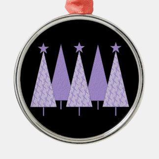 ラベンダーのリボンのクリスマスツリー- Cancer概要 メタルオーナメント
