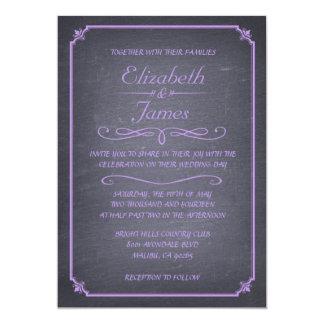 ラベンダーのヴィンテージの黒板の結婚式招待状 カード