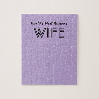ラベンダーの世界ほとんどの素晴らしい妻のカスタムなギフト項目 ジグソーパズル