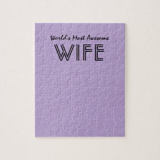 ラベンダーの世界ほとんどの素晴らしい妻のカスタムなギフト項目 パズル