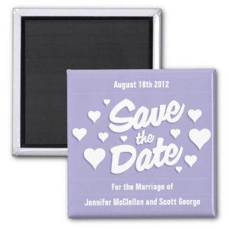 ラベンダーの保存は日付のハート日付の磁石を救います マグネット