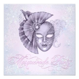 ラベンダーの冬の不思議の国の仮面舞踏会のパーティー カード