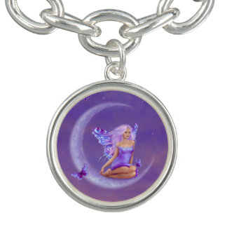 ラベンダーの月の蝶妖精のチャームブレスレット チャームブレスレット