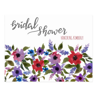 ラベンダーの水彩画の花のブライダルシャワーのアドバイス ポストカード