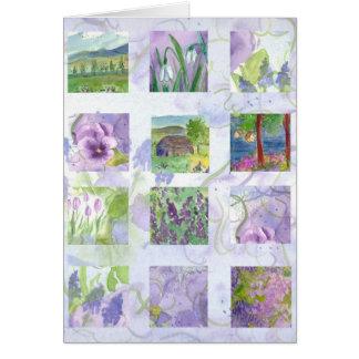 ラベンダーの水彩画の花の絵画のコラージュカード カード