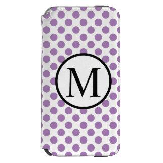 ラベンダーの水玉模様が付いているシンプルなモノグラム INCIPIO WATSON™ iPhone 5 財布型ケース