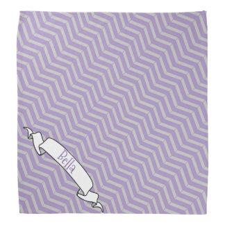 ラベンダーの灰色のシェブロンパターン旗の飼い犬の名前 バンダナ