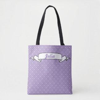 ラベンダーの白い水玉模様の天のばら色の花柄 トートバッグ