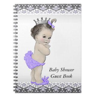 ラベンダーの紫色および灰色のベビーシャワーの来客名簿 ノートブック