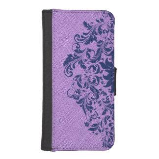 ラベンダーの紫色のリネン質の青い花のレース iPhoneSE/5/5sウォレットケース