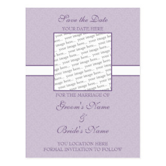 ラベンダーの紫色の卵の殼の保存日付の郵便はがき ポストカード