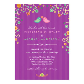 ラベンダーの紫色の渦巻花愛鳥の結婚 カード