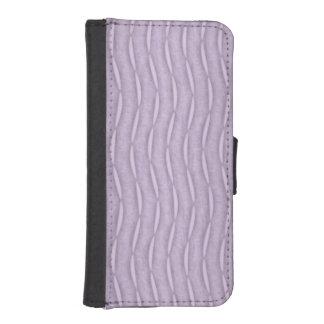 ラベンダーの紫色の縦のおもしろいのストライプ iPhoneSE/5/5sウォレットケース