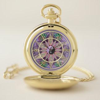 ラベンダーの紫色の金ゴールドの陰陽の曼荼羅の壊中時計 ポケットウォッチ