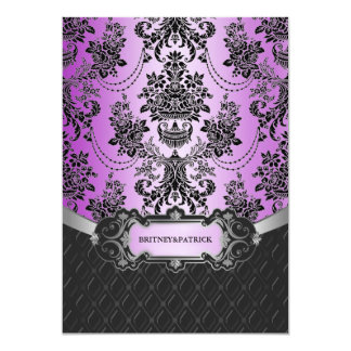 ラベンダーの紫色の黒いダマスク織の結婚式招待状 カード