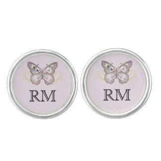 ラベンダーの結婚式のカフスボタンのグリッターの蝶 カフボタン