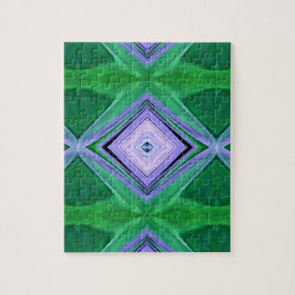 ラベンダーの緑の菱形のフラクタルパターン パズル
