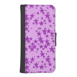 ラベンダーの背景の紫色の星 iPhoneSE/5/5sウォレットケース