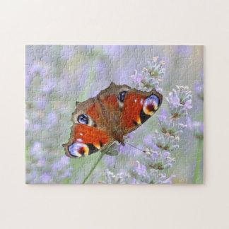 ラベンダーの花の蝶 ジグゾーパズル
