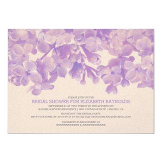 ラベンダーの花柄のブライダルシャワー招待状 カード