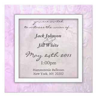 ラベンダーの花柄の結婚式招待状 13.3 スクエアインビテーションカード