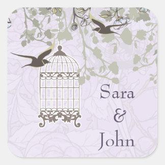ラベンダーの薄紫のヴィンテージの鳥かごの鳥の結婚 スクエアシール
