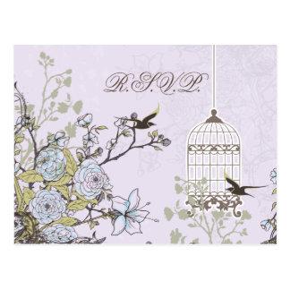ラベンダーの薄紫のヴィンテージの鳥かごの鳥の結婚 ポストカード