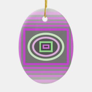 ラベンダーの薄紫の紫色およびファンキーな海の泡の緑 セラミックオーナメント