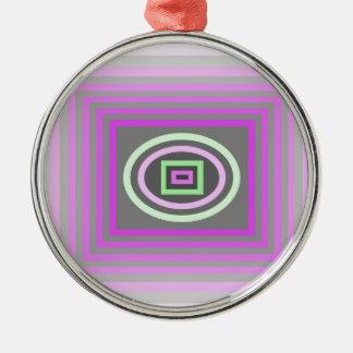 ラベンダーの薄紫の紫色およびファンキーな海の泡の緑 メタルオーナメント