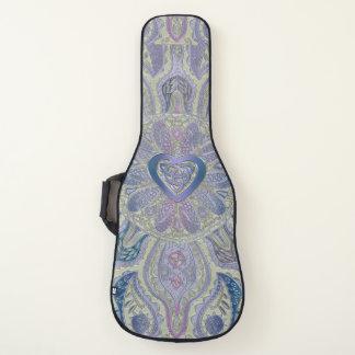 ラベンダーの金ゴールドのケルト族のハートの結び目の曼荼羅のギターCas ギターケース