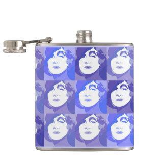 ラベンダーの青い紫色のフラスコのPopartのレトロの女性 フラスク