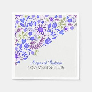 ラベンダーの青い花の結婚式の紙ナプキン スタンダードカクテルナプキン