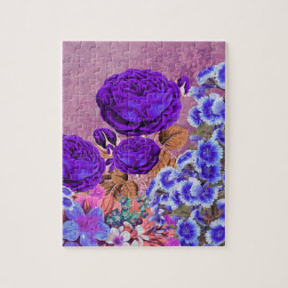ラベンダーの青のバラ ジグソーパズル