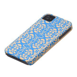 ラベンダーの青のヴィンテージアールヌーボー Case-Mate iPhone 4 ケース