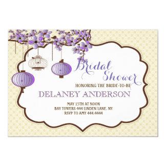 ラベンダーの鳥かごの花のブライダルシャワーの招待 カード