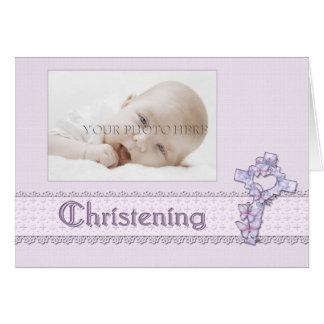 ラベンダーの《キリスト教》洗礼式や命名式の写真の招待状 カード