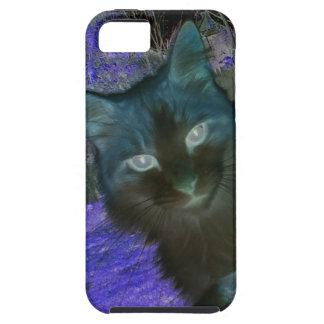 ラベンダーのiPhone 5の場合の影猫 iPhone SE/5/5s ケース