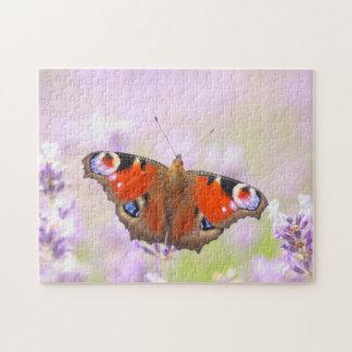 ラベンダー上の孔雀蝶 ジグソーパズル