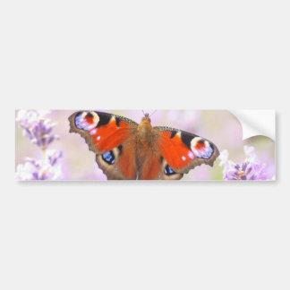 ラベンダー上の孔雀蝶 バンパーステッカー
