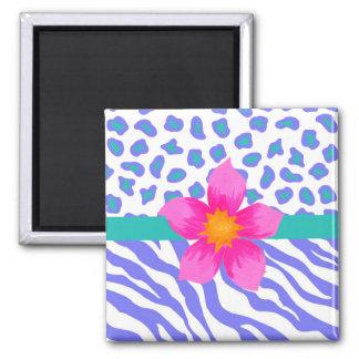 ラベンダー及び白いシマウマ及びチータのピンクの花 マグネット