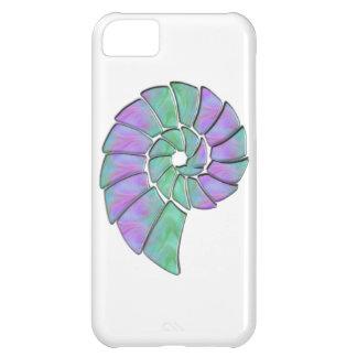 ラベンダー及び緑の石造りのオウムガイの貝 iPhone5Cケース