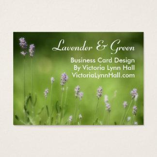 ラベンダー及び緑の花の写真 名刺