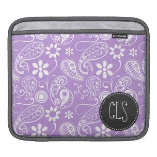 ラベンダー、薄紫のペイズリー; 黒板の一見 iPadスリーブ