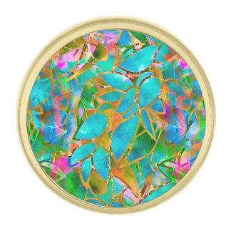 ラペルピンの花柄の抽象芸術のステンドグラス ゴールド ラペルピン