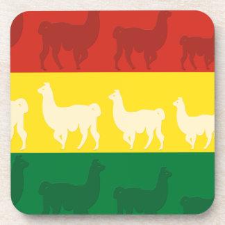 ラマが付いているボリビアの旗 飲み物コースター