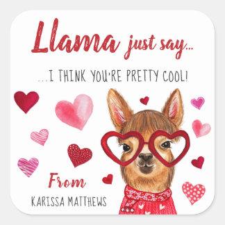 ラマはちょうど|の名前入りなバレンタインのステッカーを言います スクエアシール
