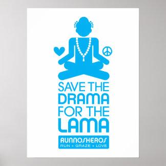 ラマ僧-明るく青いポスターのための戯曲を救って下さい ポスター