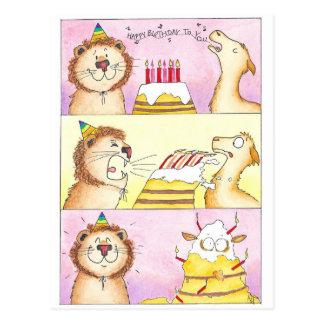ラマ対ニコールJanes著作のライオンの誕生日の郵便はがき ポストカード
